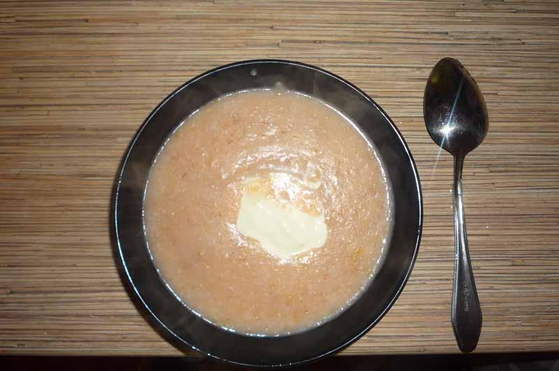 Суп пюре с яблоками и овсянкой,