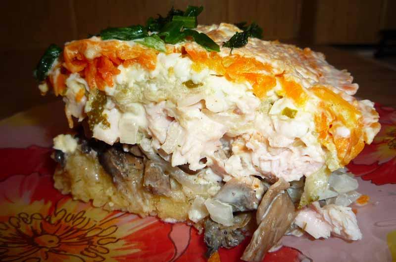 Слоеные салаты с копченой курицей и грибами рецепты с